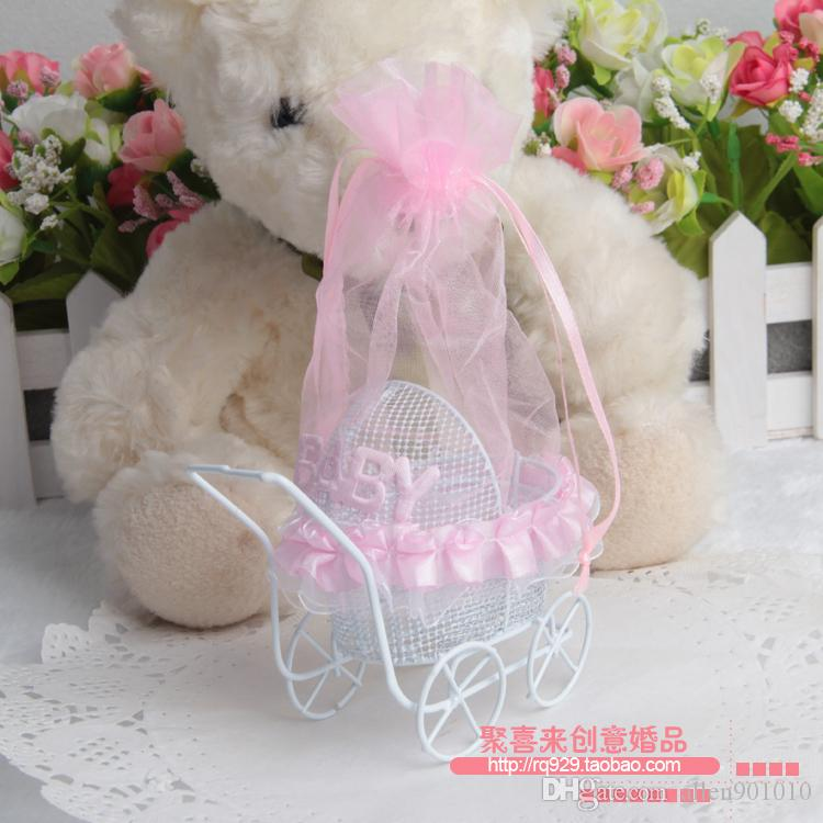 New Pram With Lace Baby Carriage Metal Candy Boxes Baby Shower