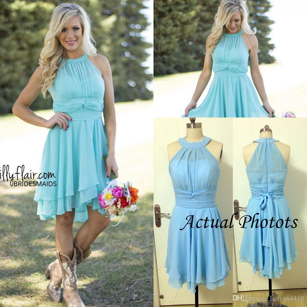 2016 New Light Blue Country Bridesmaid Dresses Short Cheap