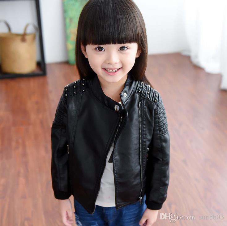 Cool 2016 Girls Jackets Kids PU Leather Jacket Girl Rivet ...