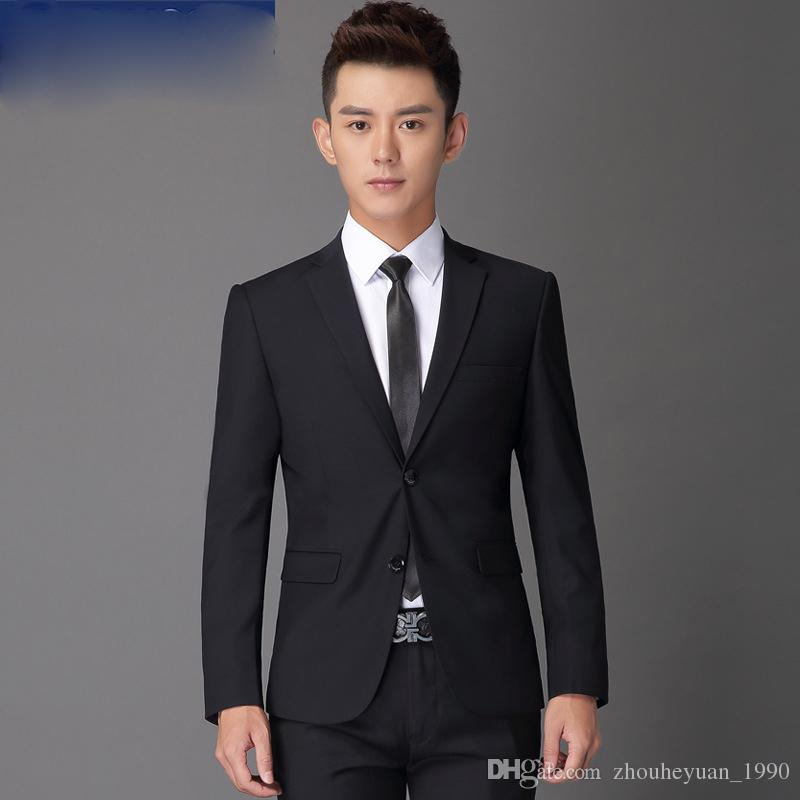 2017 The New Thin Body Trendy Black High Quality Suits For Men Two ...