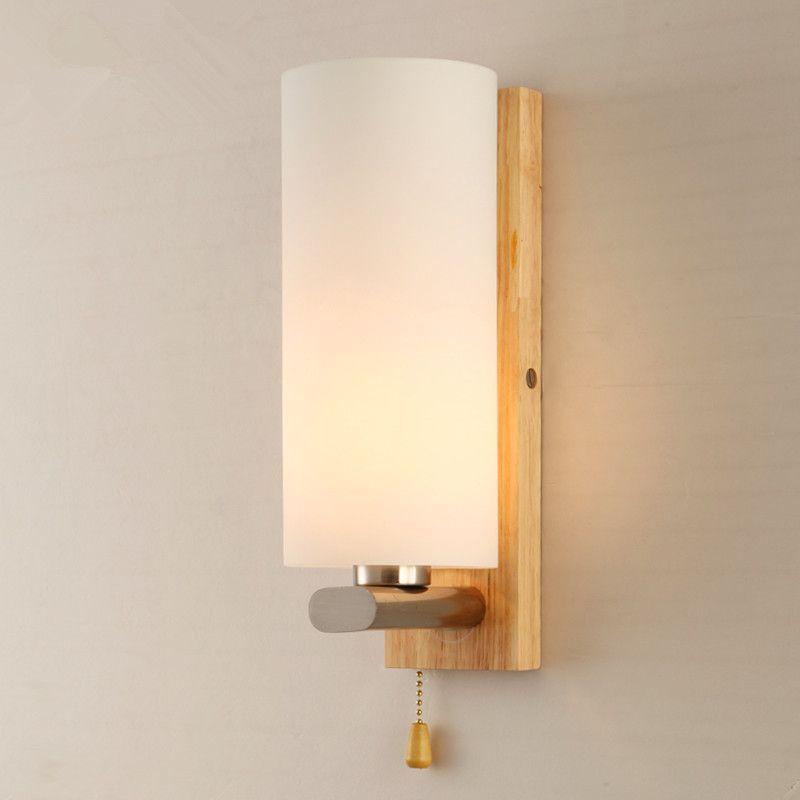 Modern Wood osk Wall Lamp Bedroom Bedside Wooden Glass Wall Sconces kitchen  cabinet Wall Light Fixtures. 2017 Modern Wood Osk Wall Lamp Bedroom Bedside Wooden Glass Wall