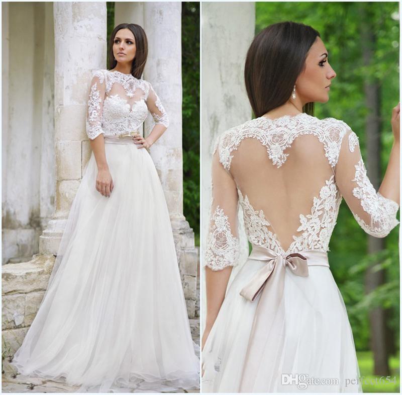 Modern Wedding Dresses Backless : Discount modern backless wedding dresses a line lace half sleeve