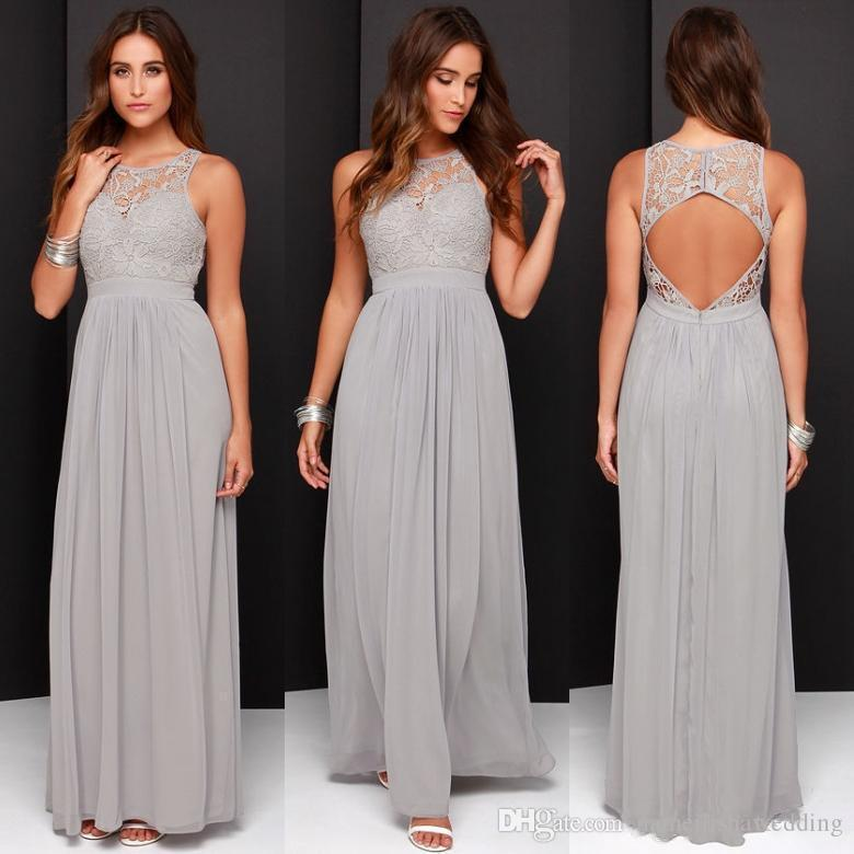 Cheap light grey bridesmaid dresses long lace jewel neck for Junior wedding guest dresses for summer