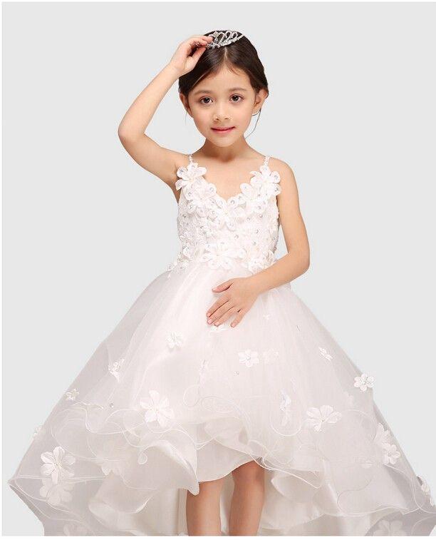 Glitz White Spaghetti Straps Princess Flower Girl Dress For ...