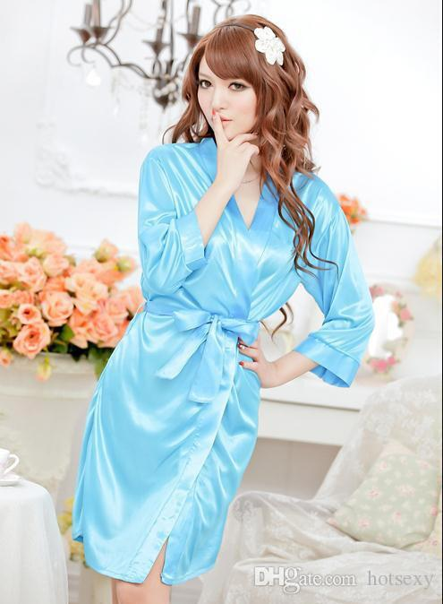 sexy pyjamas ladies lingerie silk satin robe wedding bride bridesmaid lingerie set sleepwear. Black Bedroom Furniture Sets. Home Design Ideas