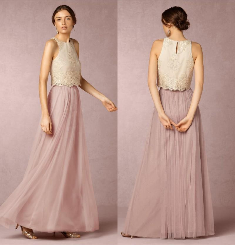 Two pieces bridesmaids dresses jewel neck chiffon tulle a for Wedding dresses 2 piece