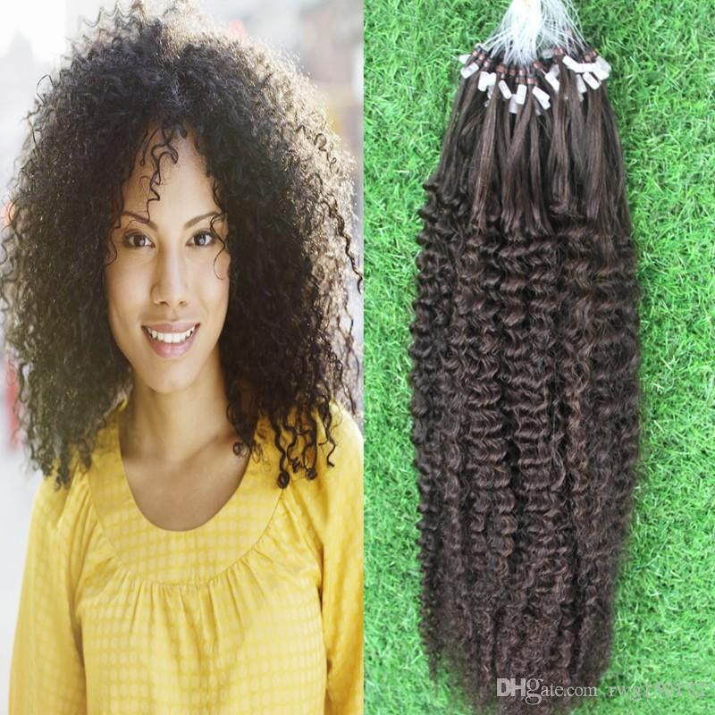 Hot 100strandsNatural Color Hair Remy Loops Micro Rings ...