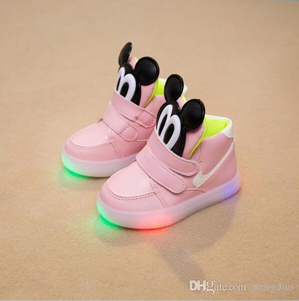 Enfants Chaussures 2016 Fashion LED Lights Emitting Mickey Kids / Chaussures Béb