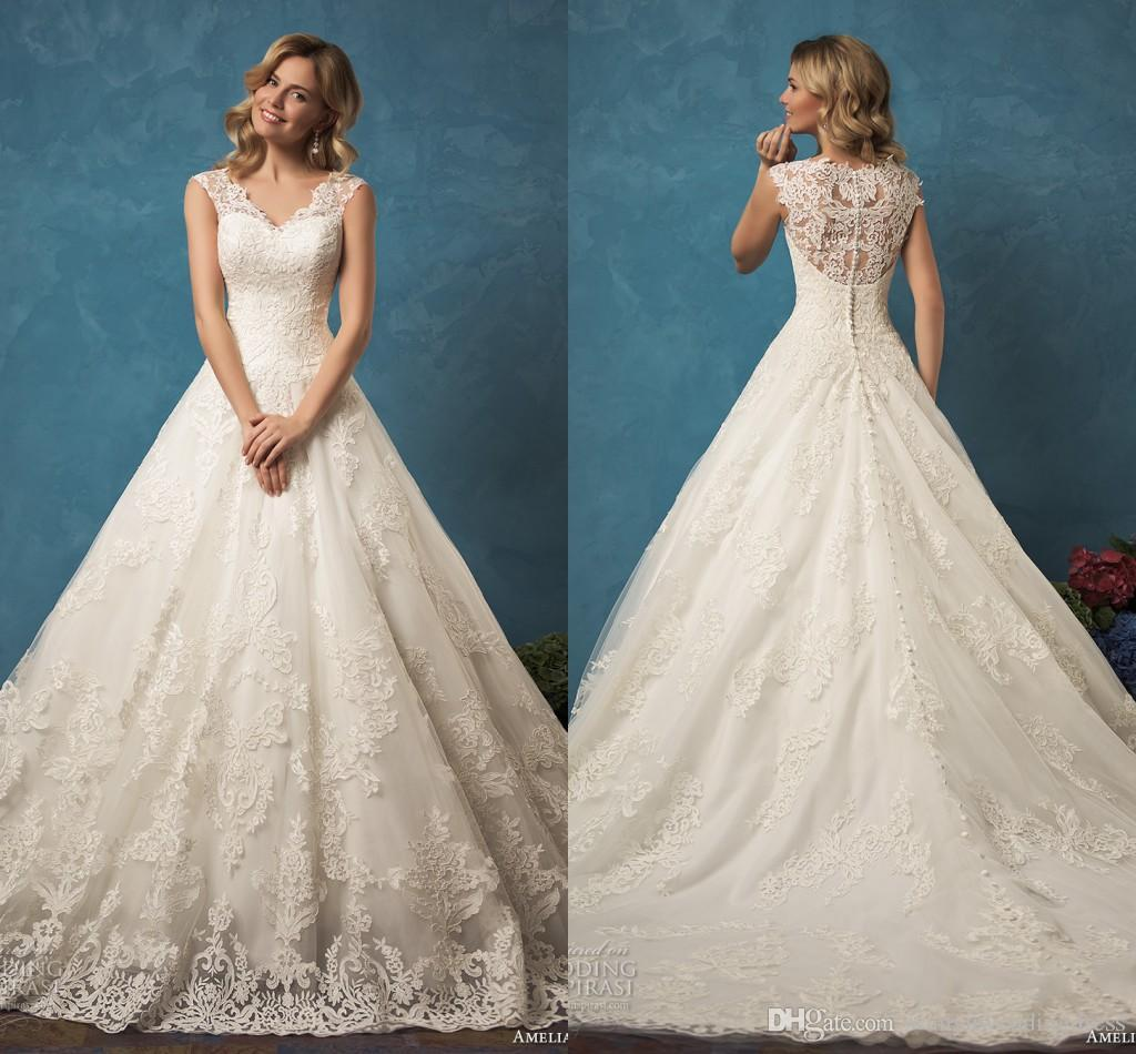 Lace Vintage Wedding Dresses Elegant Cap Sleeves 2016 V