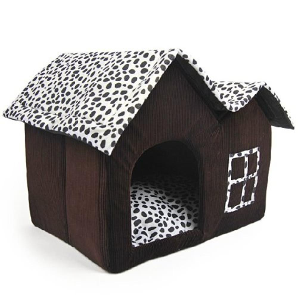 Indoor dog house - Detachable Double Roofs Pet Dog House Indoor Winter Warm Cat Bed Kennel For Small Or Medium