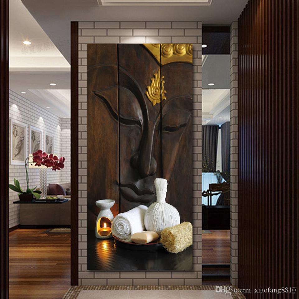 2017 antique canvas wall decor light up buddha painting. Black Bedroom Furniture Sets. Home Design Ideas