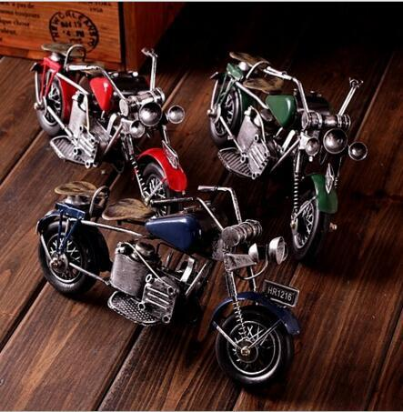 Creative zakka crafts red green blue motorbicycle for Motorcycle decorations home