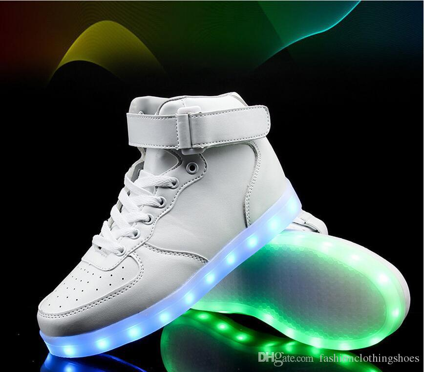 PrettyBaby LED Light Up Shoes For Adults High Top Big Size