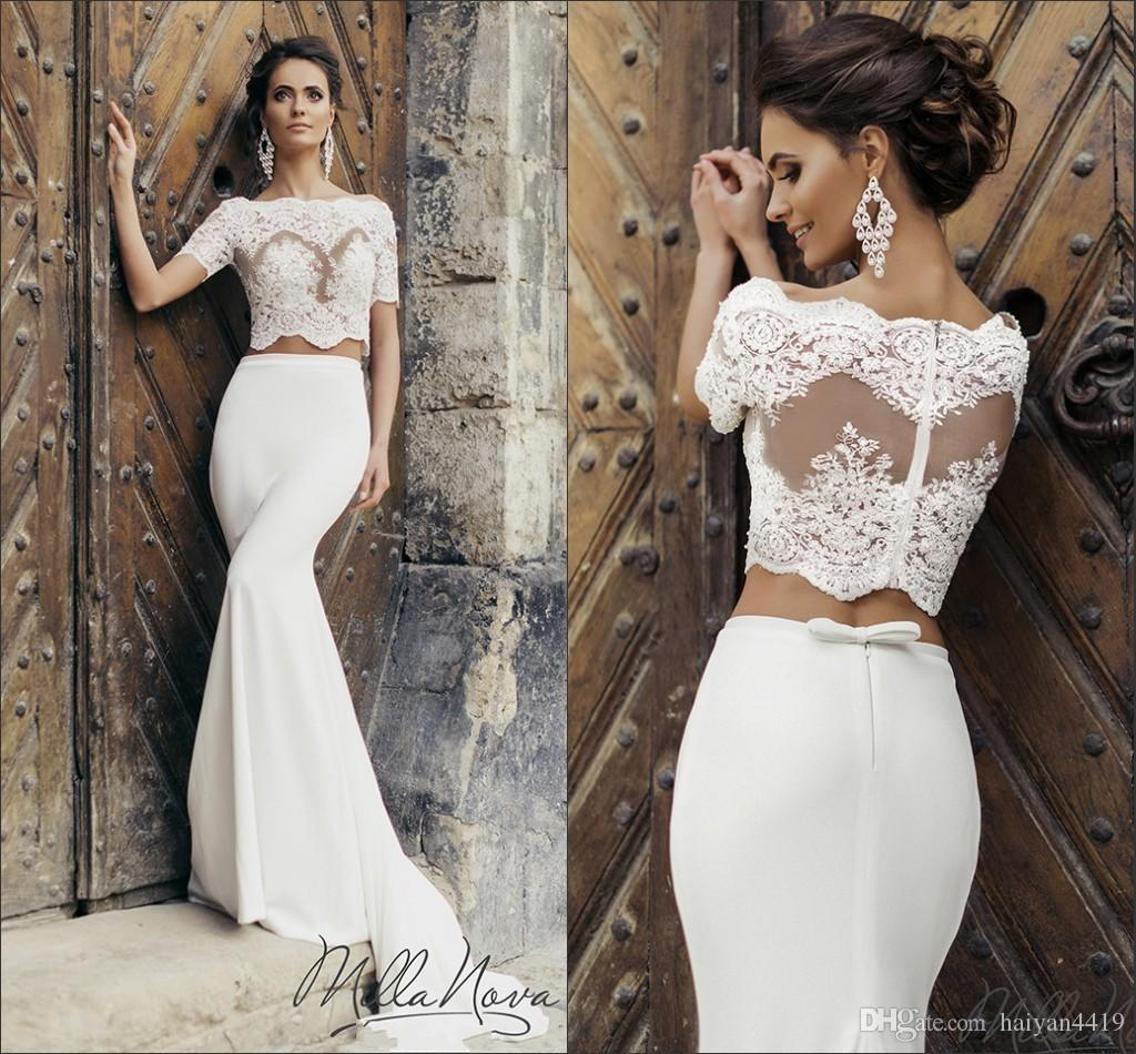 Two Pieces Mermaid Wedding Dresses Bridal Gowns 2016 New
