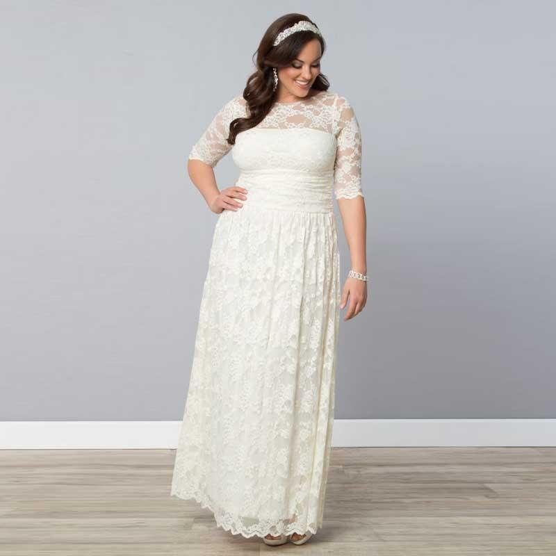 Discount plus size lace wedding dresses crew neck sheer for Crew neck wedding dress