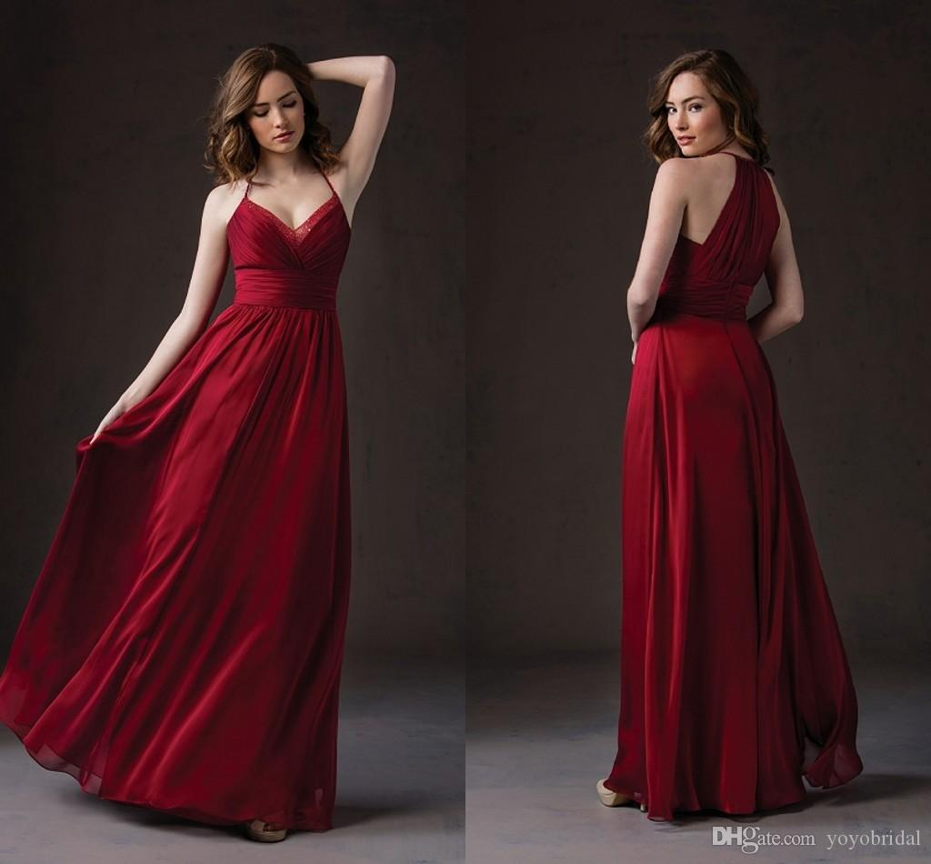 Red Halter Chiffon Beach Bridesmaid Dresses Long Beaded