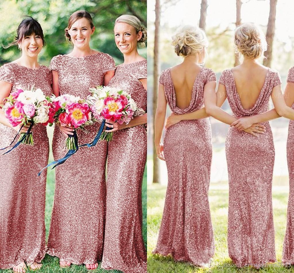 New rose pink sequins long bridesmaid dresses elegant short new rose pink sequins long bridesmaid dresses elegant short sleeves summer wedding party dresses cheap junior maid of honor gowns 2016 bridesmaid dresses ombrellifo Images