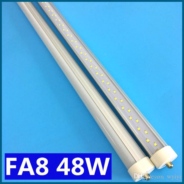 FA8 LED Tube T8 1PIN seule broche 48W 8FT 2.4M 8 pieds LED tube fluorescent AC 8
