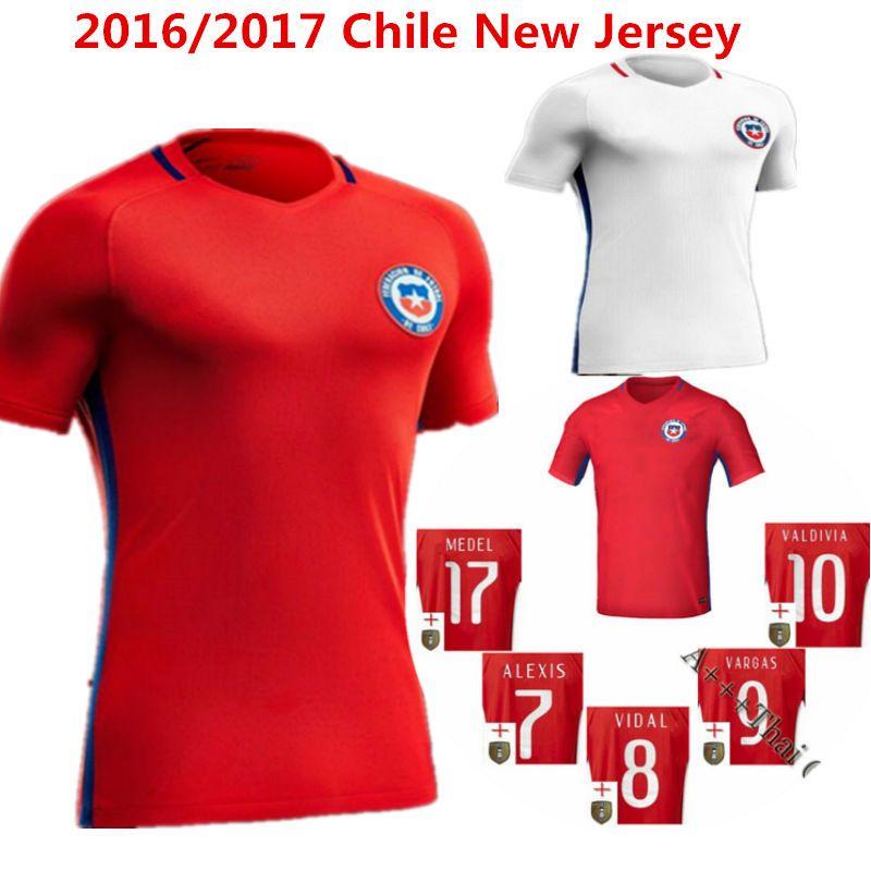 2016 soccer jersey chile camisetas de futbol 2017 sanchez valdivia medel vidal home red football clothes