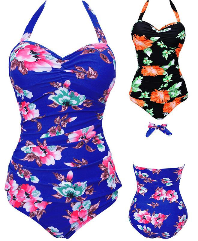 Sexy Femmes One Piece Flower Print Style Halter Hanging Neck Swimsuit Push Up ma