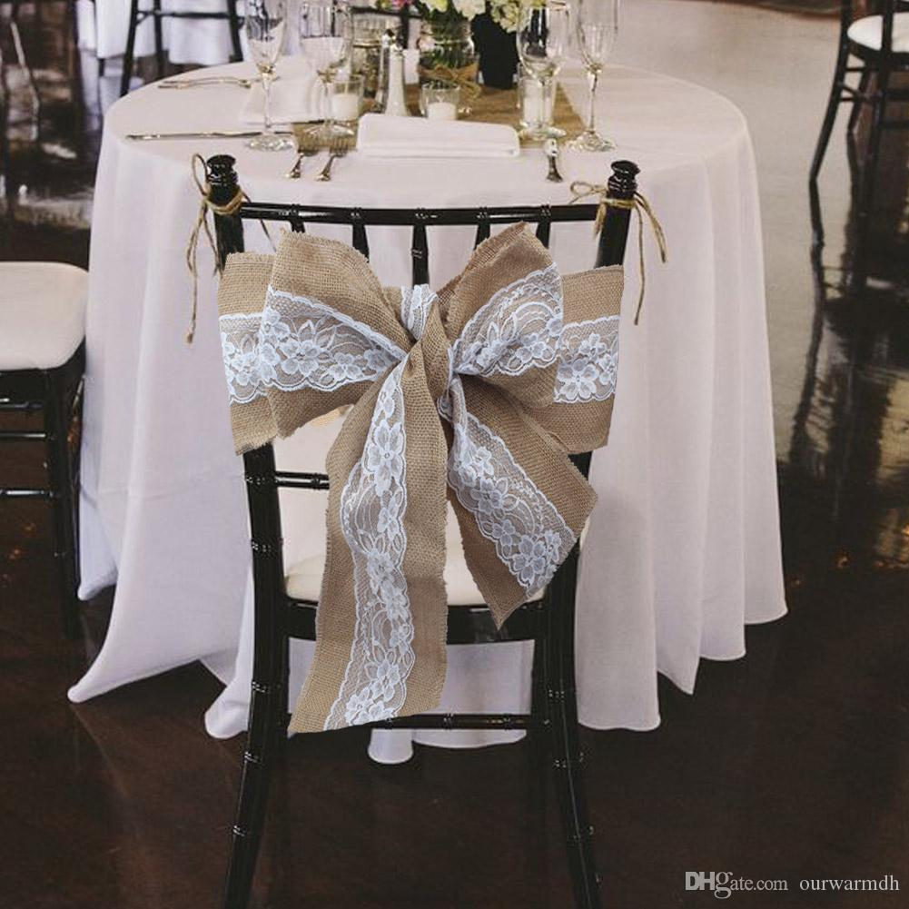 Burlap chair sashes natural hessian jute linen rustic chair cover