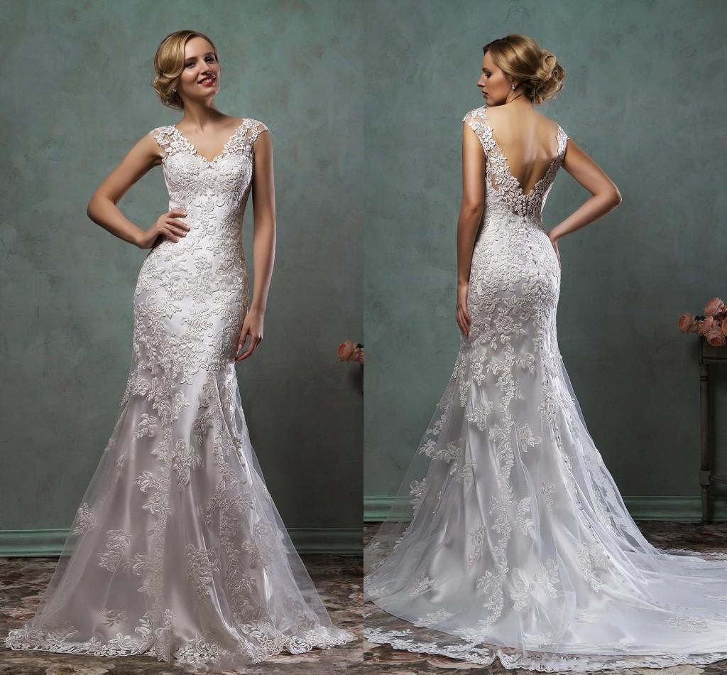 Discount 2016 New Sheer Cap Sleeves Lace Mermaid Wedding