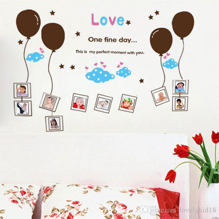 love balloon photo frame wall stickers decorative wall decals cartoon wallpaper for birthday party kids room nursery