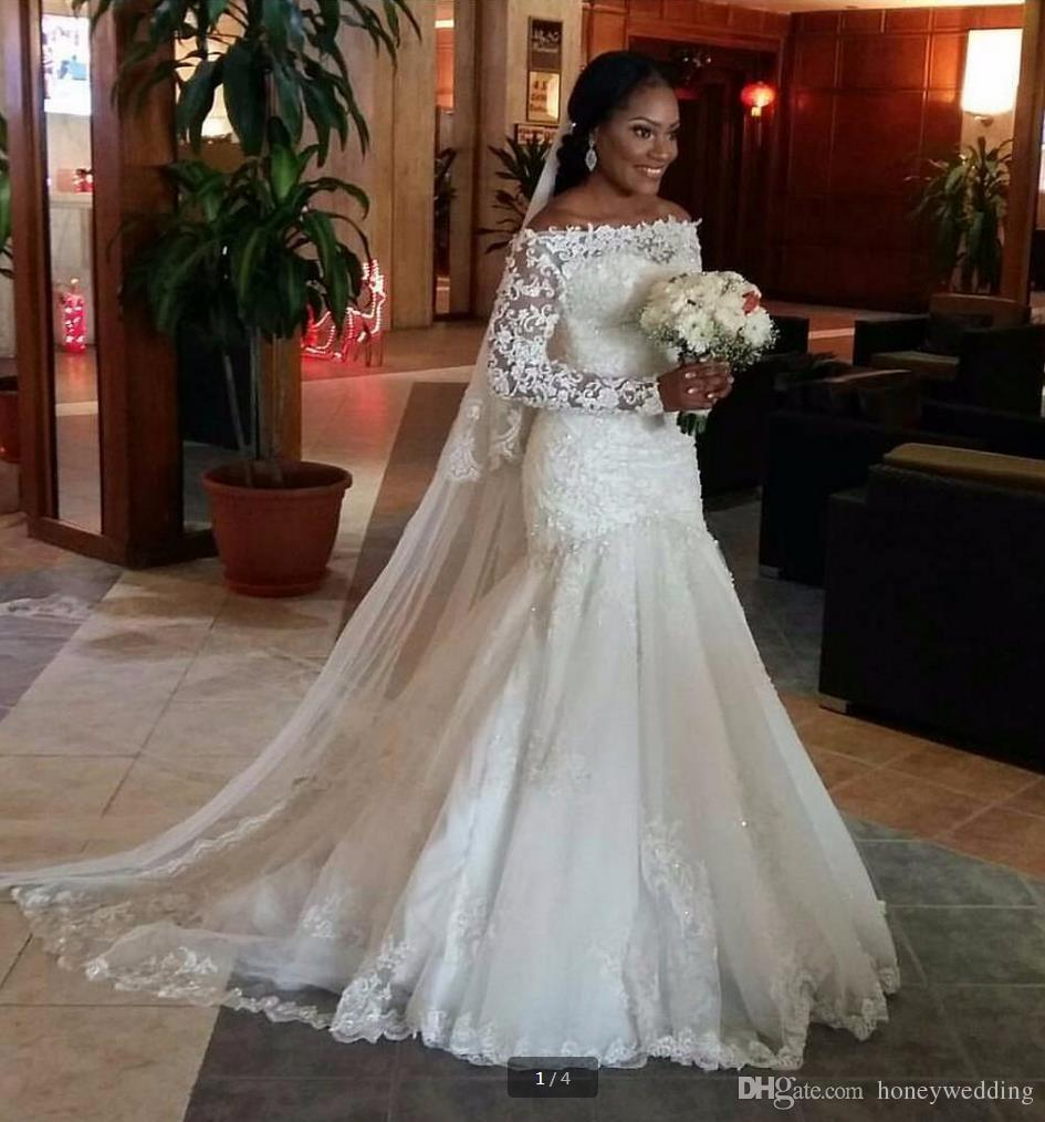 Modest plus size mermaid wedding dresses 2017 off shoulder for Cheap wedding dresses canada