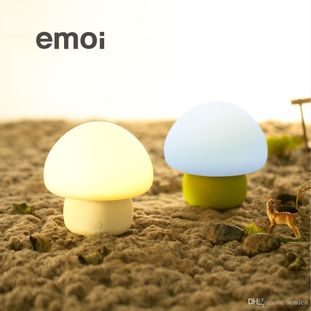 Led smart night lamp - Wholesale Original Emoi Smart Led Colorful Mushroom Touch Lamp Night Light Portable Touch Sensor Silicon