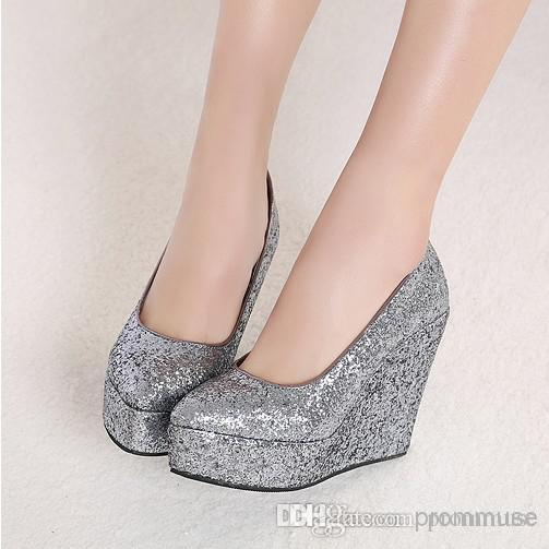2016 Newest Wedding Shoes Gold Silver Wedges Sequins Party Prom ...
