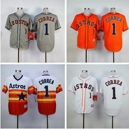 # 1 Carlos Correa Throwback Baseball Jersey, Houston Astros Hommes chandails, br