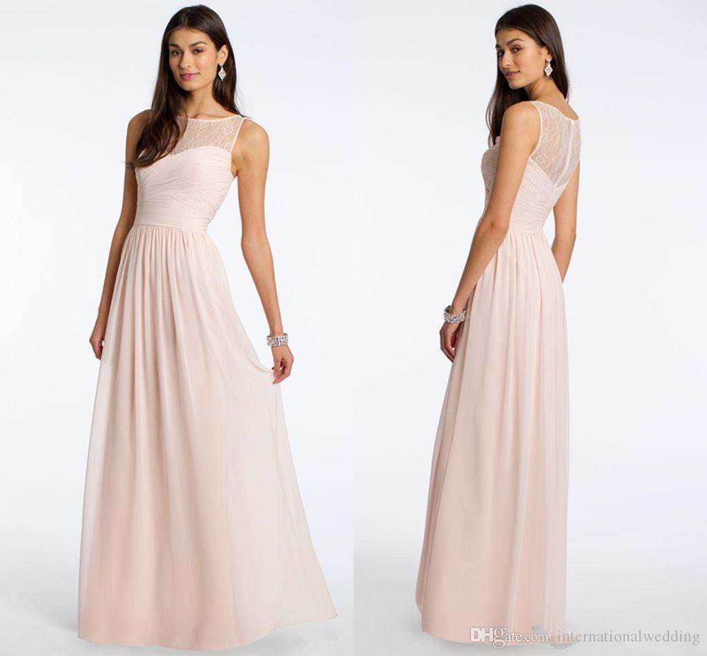 2016 cheap long chiffon bridesmaid dresses blush lace for Dhgate wedding dresses 2016
