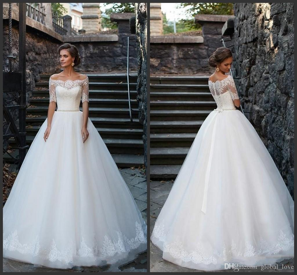 Discount 2016 Vintage Ball Gowns Lace Wedding Dresses Lace