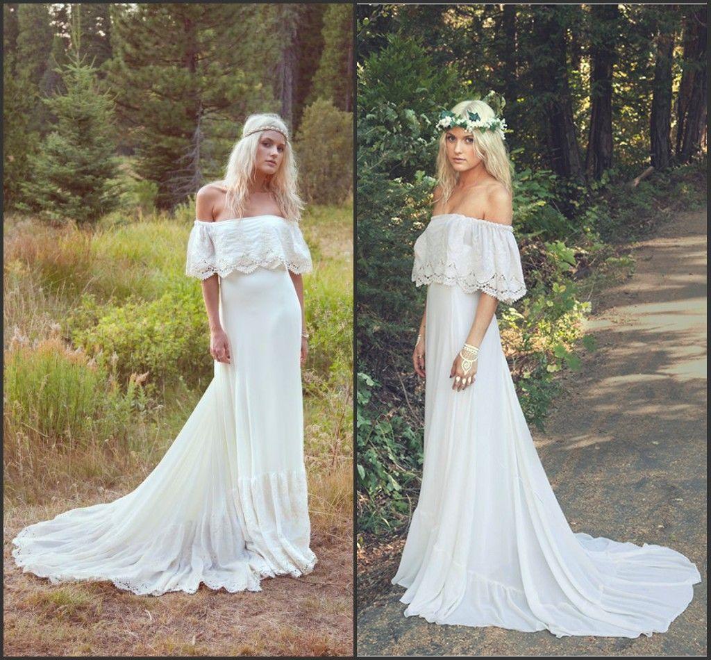 f The Shoulder Bohemian Wedding Dresses 2016 Pregnant