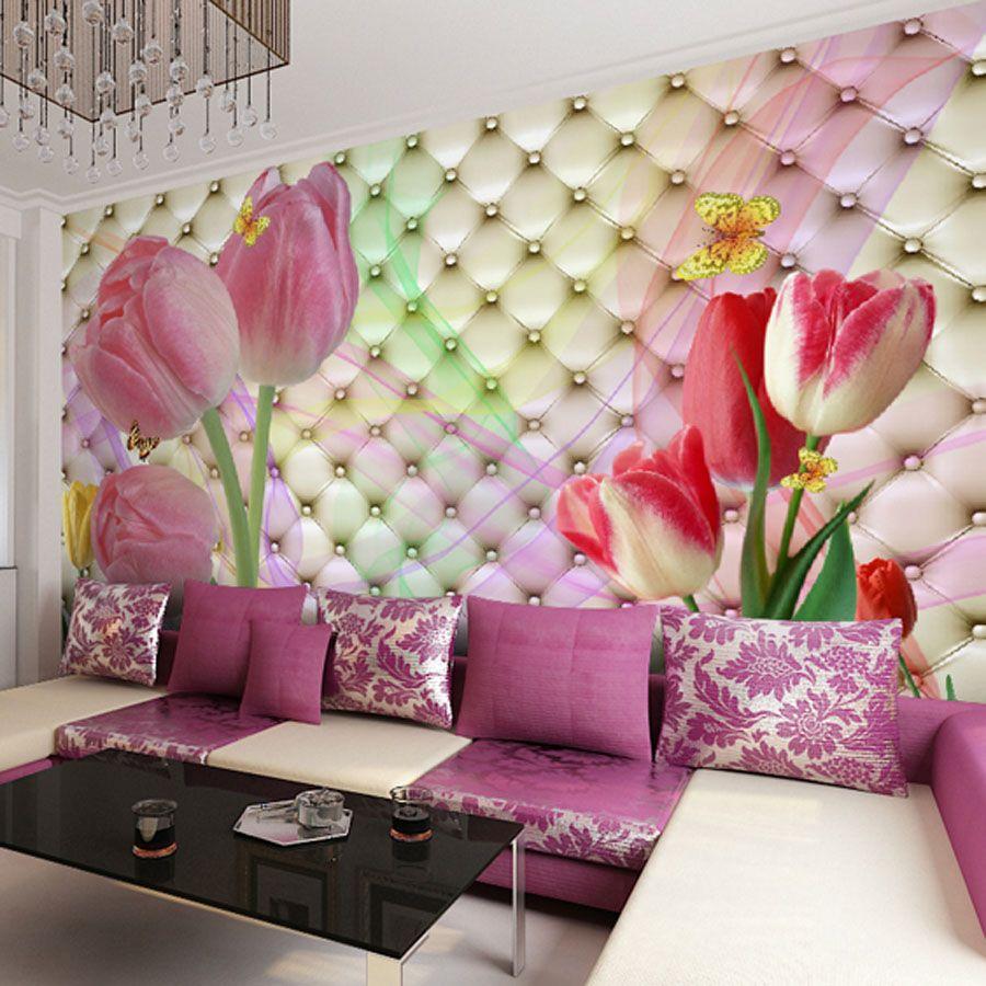 Marriage Bedroom Decoration Custom Large Mural Wallpaper 3d Stereo Soft Case Romantic Tulip Tv