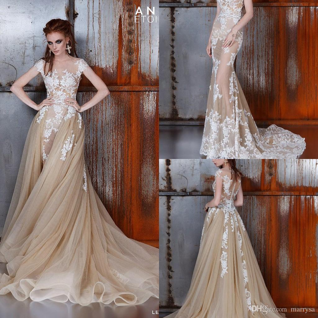 Champagne Vintage Mermaid Wedding Dresses y Sheer Beach