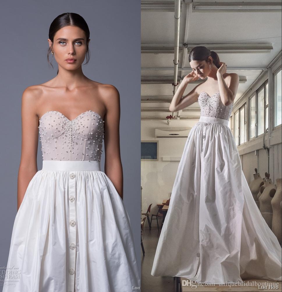 Discount romantic wedding dresses lihi hod 2017 taffeta for Taffeta wedding dress with pockets