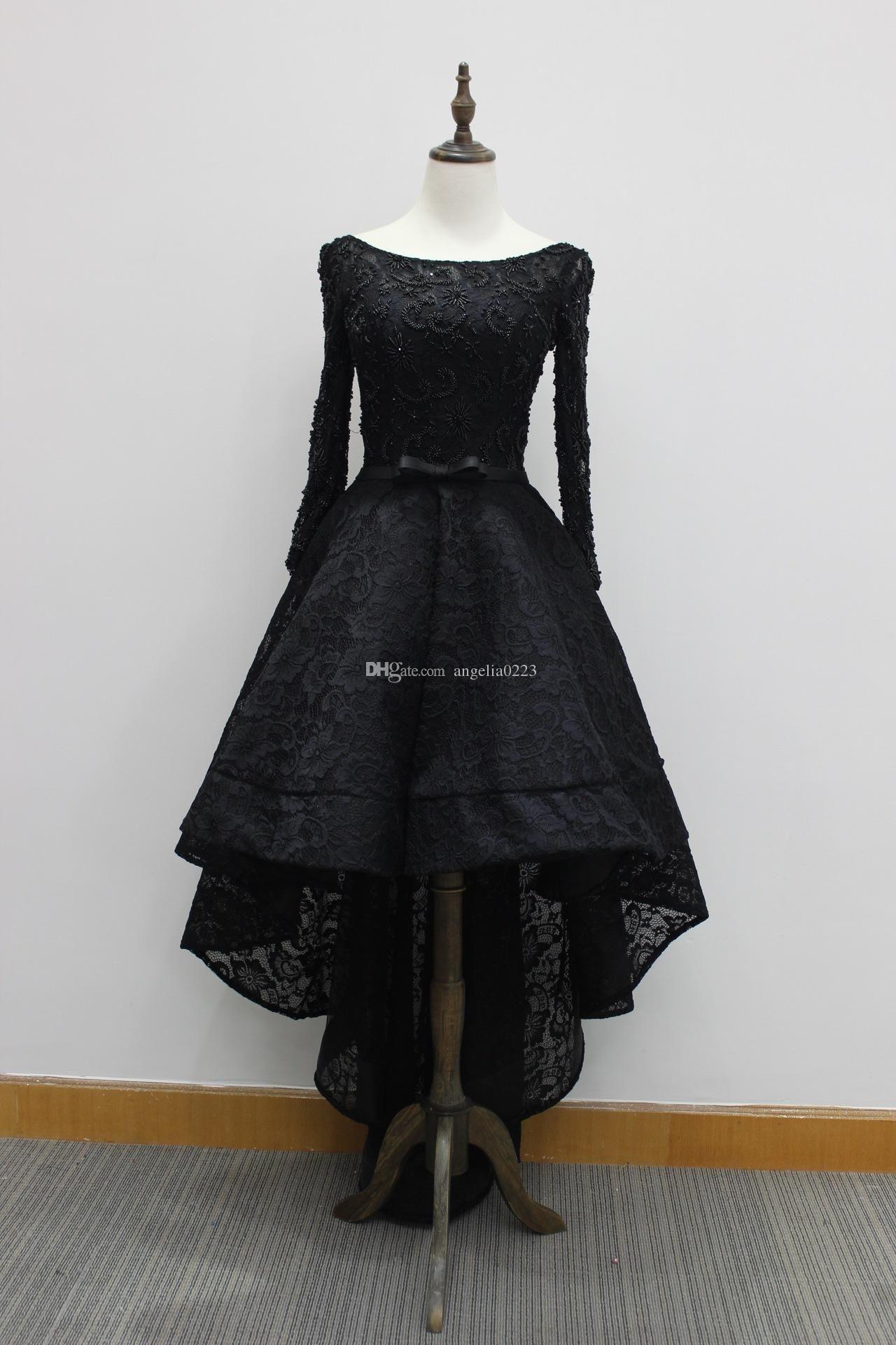 Black Hi Lo Prom Dresses 2016 Real Photo Bateau Long Sleeves Lace ...