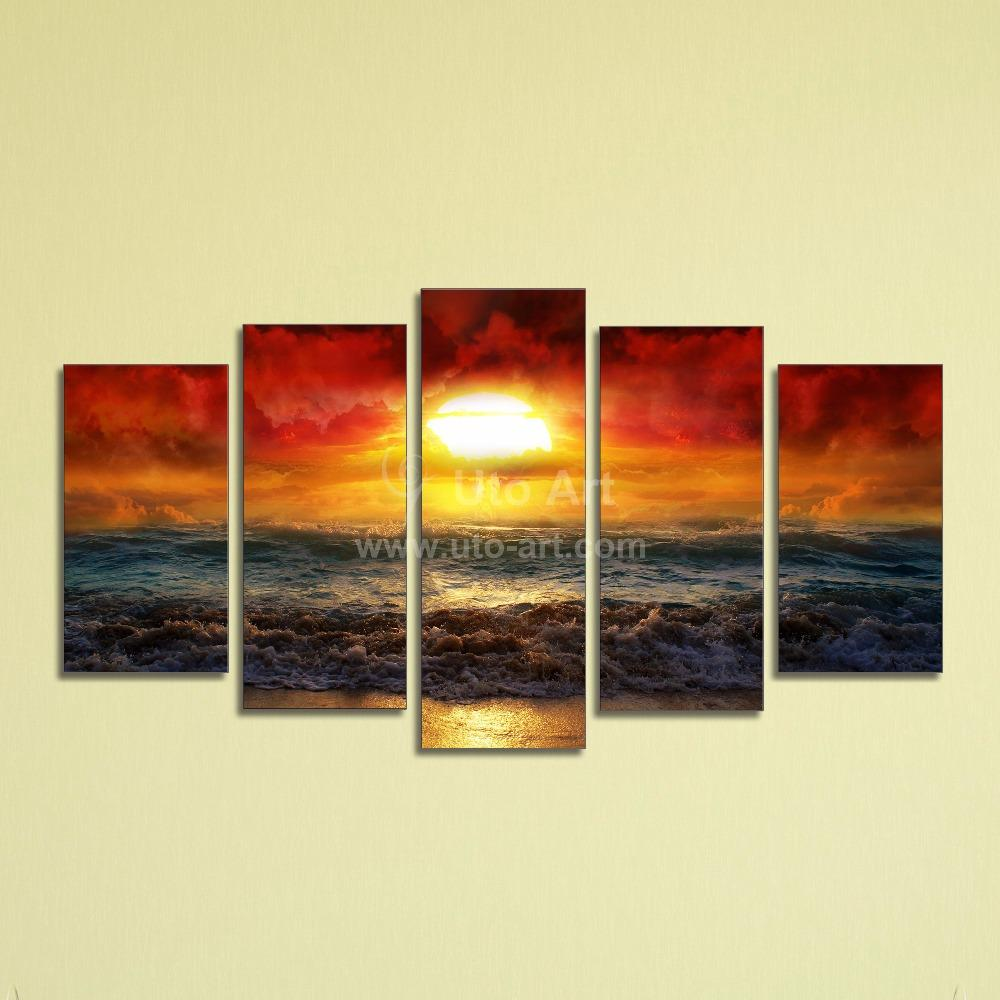 2017 Cheap 5 Panel Wall Art Painting Ocean Beach Decor Canvas Prints Picture Fire Kissed Water