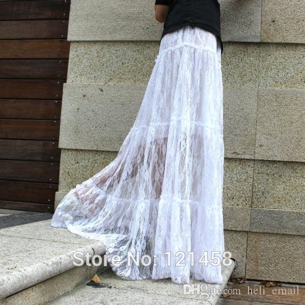 105CM Casual Hollow Lace Maxi Skirt European And American Style ...