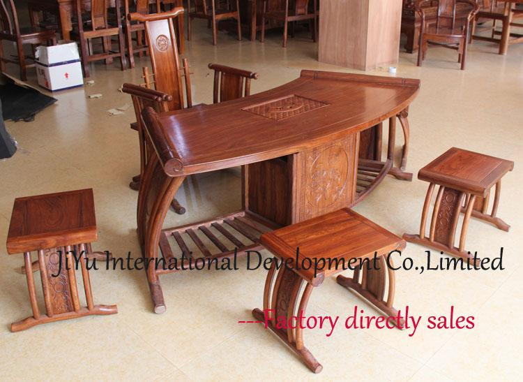 Superb Luxury Chinese Classicial Furniture Coffee Table Gongfu Tea Teable Fashion  Fan Shaped 1.5m Length Home Tea Table African Red Sandalwood Chinese  Classicial ...