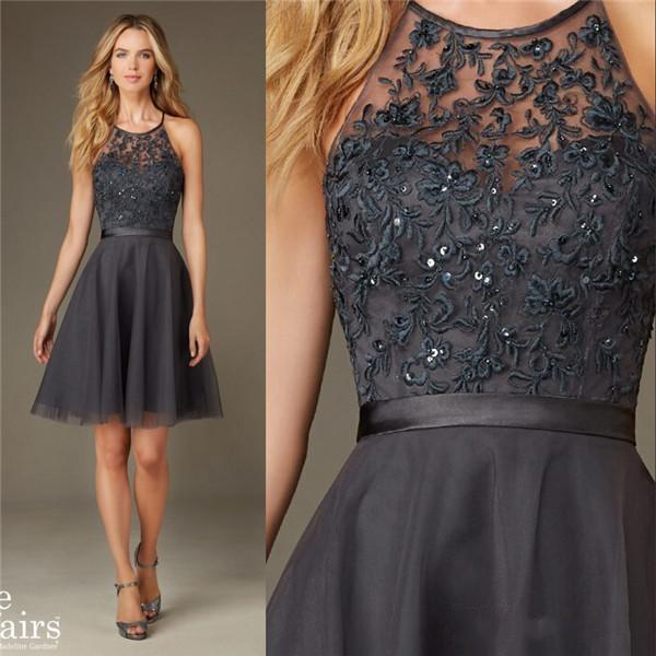 Simple sequins short gray bridesmaids dresses affairs for Country dresses for wedding guest