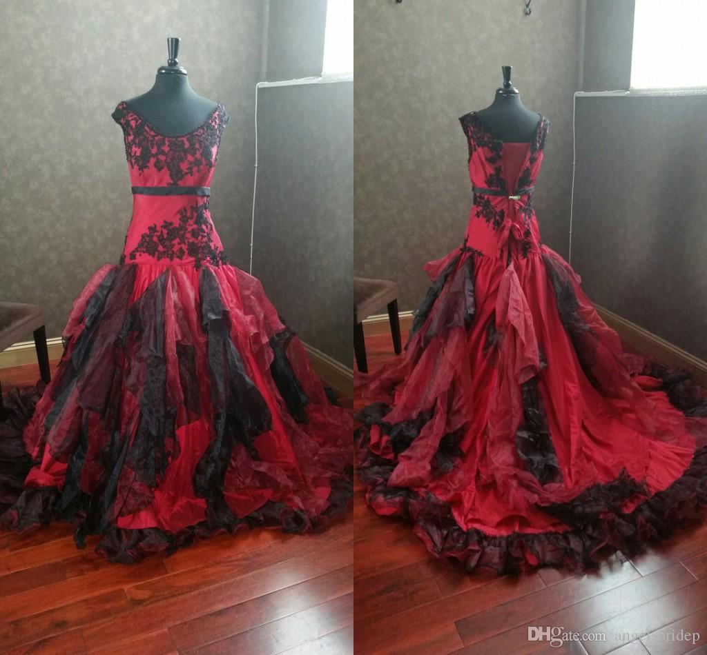 Burgundy And Black Gothic Wedding Dresses f The Shoulder