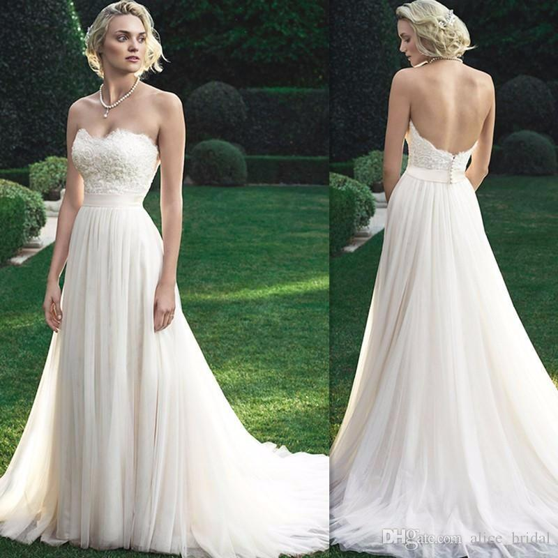 Simple white lace tulle beach wedding dresses 2016 sexy for Simple off white wedding dresses