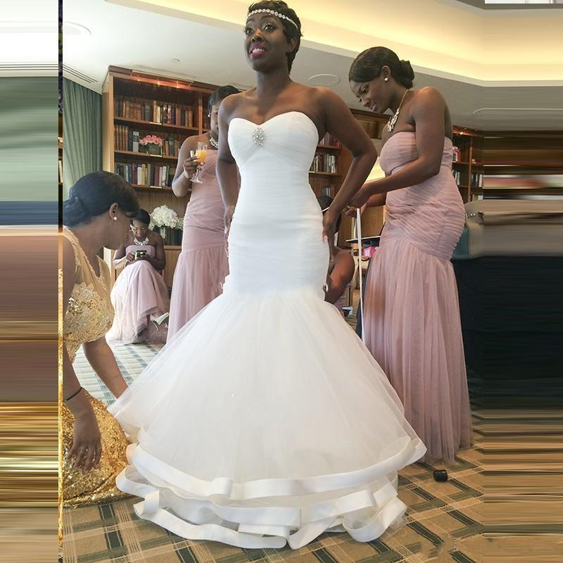 African mermaid wedding dresses bridal gowns 2016 new for African white wedding dresses