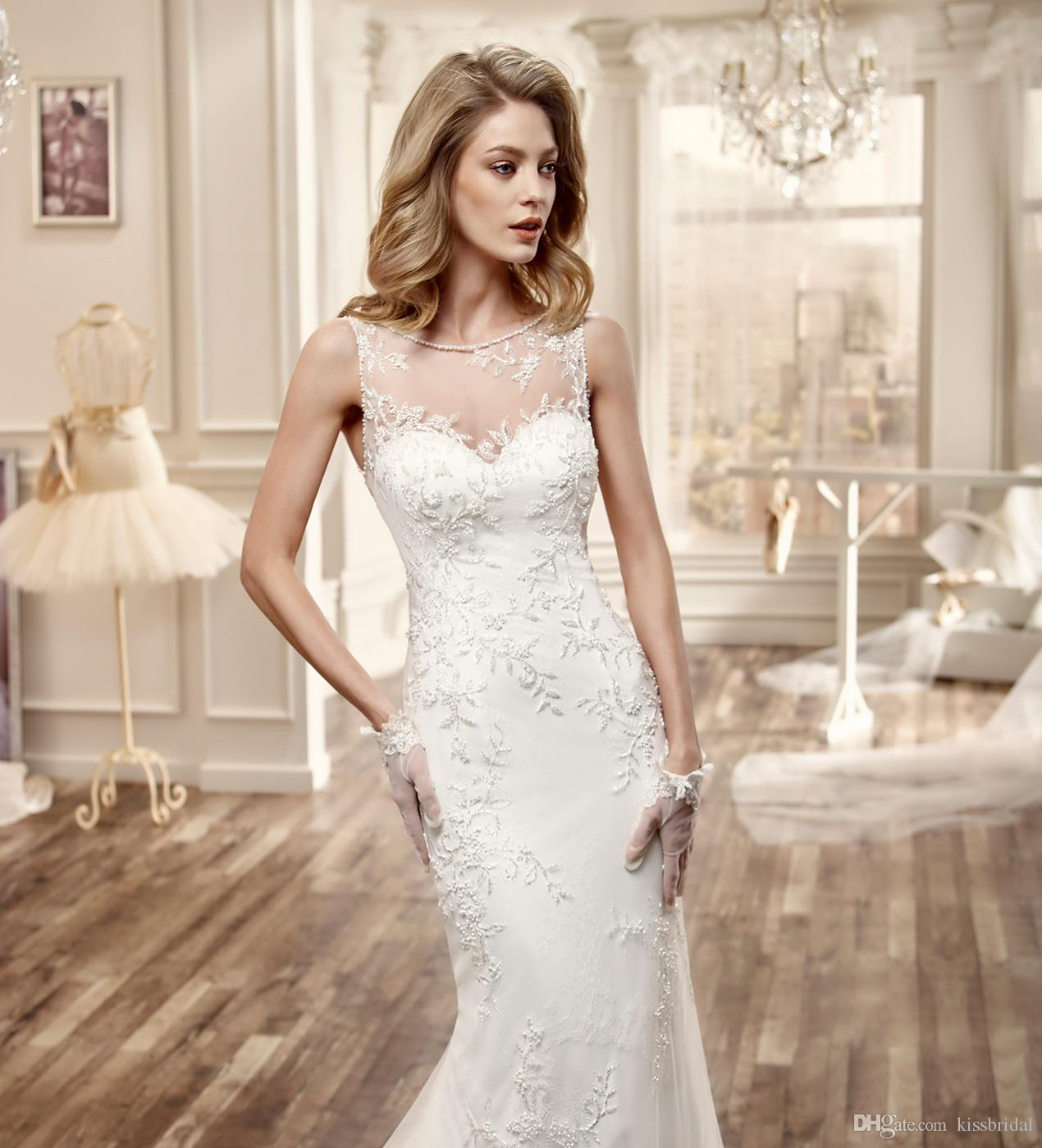 Luxury 2016 Long Wedding Dresses Mermaid Lace Applique