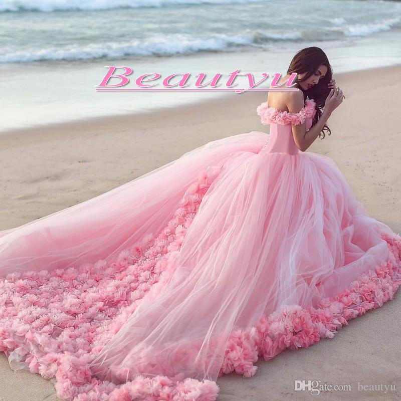Luxury Puffy Ball Gown Beach Wedding Dresses Hand Made Flowers Long Pink Off Shoulder Court