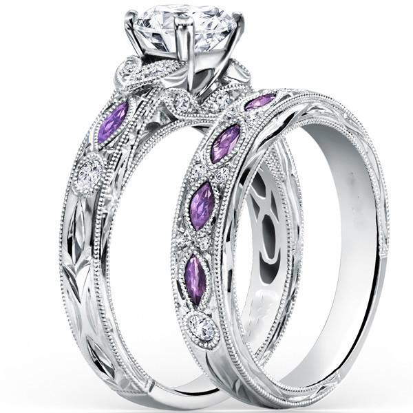 bridal wedding rings set purple white gold plate party gifts ring finger vintage jewelry womans fashion - Purple Wedding Ring