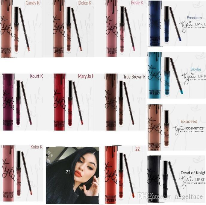 Kylie Lip Kit by kylie jenner Lipstick Kylie set with Eyekiner lip gloss liquid lipstick matte SMLIE SPICE PUMPKIN TRICK Moon 28 colors