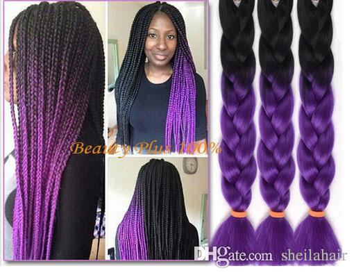 Ombre Purple Box Braids Hair Kanekalon Synthetic Black Girl
